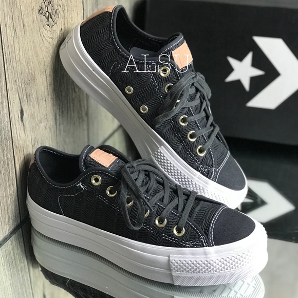 Converse Ctas Lift OX Canvas Almost Black W AUTHEN NWT